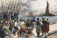 0061215 © Granger - Historical Picture ArchiveIMMIGRANTS ON SHIP, 1887.   Immigrants on the steerage deck of an ocean steamer passing the Statue of Liberty in New York Harbor. Color engraving, 1887.