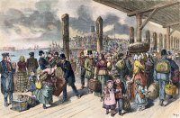 0061664 © Granger - Historical Picture ArchiveIMMIGRANTS: CASTLE GARDEN.   European immigrants landing on the wharf at Castle Garden, New York City, 1878.