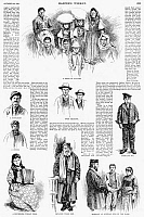 0088426 © Granger - Historical Picture ArchiveNEW YORK: IMMIGRANTS, 1891.   Some of the more than 400,000 immigrants processed in 1891 at the Barge Office at the Battery on the tip of Manhattan. Wood engravings from a contempoary American newspaper.