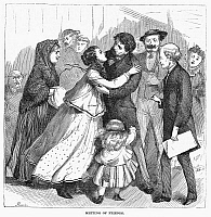 0096282 © Granger - Historical Picture ArchiveNEW YORK: IMMIGRANTS, 1871.   Recently arrived immigrants at Castle Garden, New York City. Wood engraving, 1871.