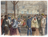 0104759 © Granger - Historical Picture ArchiveLABOR EXCHANGE, 1868.   Newly arrived immigrants being interviewed by prospective employers at the labor exchange at Castle Garden, New York City. Wood engraving, American, 1868.