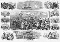 0117523 © Granger - Historical Picture ArchiveIMMIGRATION: CASTLE GARDEN.   Various scenes at the Castle Garden immigration station in New York City. Wood engraving, American, 1866.