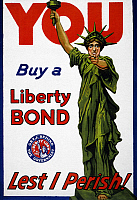 0118622 © Granger - Historical Picture ArchiveWAR POSTER, c1917.   An American war poster depicting the Statue of Liberty pointing sternly at the viewer, entitled 'You, Buy a Liberty Bond, Lest I Perish!' and including the insignia 'Get behind the government - Liberty Loan of 1917.' Color lithograph, c1917.