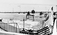 0124848 © Granger - Historical Picture ArchiveELLIS ISLAND: DETAINEES.   Athletic field for foreign enemy detainees held at Ellis Island during and after World War II. Photograph, c1945.