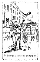 0171952 © Granger - Historical Picture ArchiveIMMIGRANTS: IRISH, c1885.   An Irish immigrant cleaning a street in New York City following his appointment as a city health officer. American cartoon, c1885.