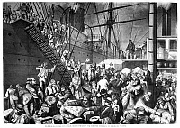 0172003 © Granger - Historical Picture ArchiveIMMIGRANTS: GERMAN, 1874.   German immigrants to the United States on a riverboat at the port of Cuxhaven, from which they board a steamship out of Hamburg bound for New York, 1874. Contemporary American wood engraving.