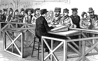 0369981 © Granger - Historical Picture ArchiveCASTLE GARDEN: EXAMINATION.   Examining newly arrived immigrants at Castle Garden, New York City. Wood engraving, American, 1880.
