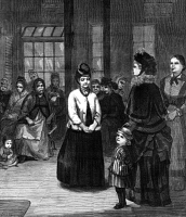 0369996 © Granger - Historical Picture ArchiveLABOR EXCHANGE, 1873.   A newly arrived immigrant being interviewed by prospective employers at the labor exchange at Castle Garden, New York City. Wood engraving, American, 1873.