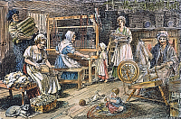 0007411 © Granger - Historical Picture ArchiveCOLONIAL CLOTH MAKERS.   Carding, spinning, and weaving woolen cloth in an 18th century American household. Drawing, 19th century.