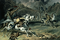 0027196 © Granger - Historical Picture ArchiveNATIVE AMERICAN BATTLE   'The Encounter.' Lithograph, 1885, by Felix O.C. Darley.