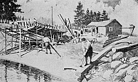 0090102 © Granger - Historical Picture ArchiveCOLONIAL SHIPYARD, c1750.   Colonial shipwrights at work. Illustration, 1919.
