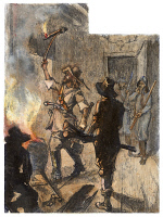 0080139 © Granger - Historical Picture ArchiveBACON'S REBELLION, 1676.   Rebel leader Richard Lawrence sets fire to his own house at Jamestown, Virginia, on 19 September 1676, during the burning of Jamestown by supporters of Nathaniel Bacon. Color engraving, 19th century.