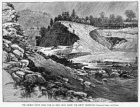 0043837 © Granger - Historical Picture ArchiveJOHNSTOWN FLOOD, 1889.   The broken South Fork dam as seen from inside the empty reservoir during the flood in Johnstown, Pennsylvania. Wood engraving from a contemporary American newspaper.
