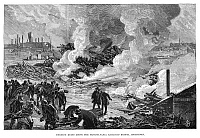 0266462 © Granger - Historical Picture ArchiveJOHNSTOWN FLOOD, 1889.   'Burning ruins above the Pennsylvania Railroad Bridge, Johnstown.' Engraving, 1889.