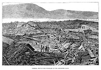 0266463 © Granger - Historical Picture ArchiveJOHNSTOWN FLOOD, 1889.   'General view of the wreckage on the Johnstown flats.' Engraving, 1889.
