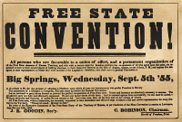 0035626 © Granger - Historical Picture ArchiveKANSAS-NEBRASKA ACT, 1855.   Broadside of 1855 seeking delegates to attend a 'Free State' convention to address the slavery conflict in the Kansas Territory precipitated by the Kansas-Nebraska Act.
