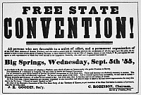 0037141 © Granger - Historical Picture ArchiveKANSAS-NEBRASKA ACT, 1855.   Broadside of 1855 seeking delegates to attend a 'Free State' convention to address the slavery conflict in the Kansas Territory precipitated by the Kansas-Nebraska Act.