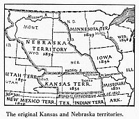 0041275 © Granger - Historical Picture ArchiveKANSAS-NEBRASKA MAP, 1854.   Detail of a map of the United States showing the Kansas and Nebraska territories as they appeared following passage of the Kansas-Nebraska Act in 1854.