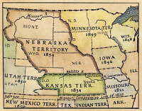 0041276 © Granger - Historical Picture ArchiveKANSAS-NEBRASKA MAP, 1854.   Detail of a map of the United States showing the Kansas and Nebraska territories as they appeared following passage of the Kansas-Nebreska Act in 1854.