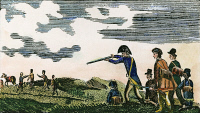 0008736 © Granger - Historical Picture ArchiveLEWIS & CLARK: NATIVE AMERICAN, 1811.   Meriwether Lewis shooting a Native American during the Lewis & Clark expedition. Colored engraving, 1811, from a contemporary account of the expedition.