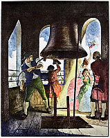 0126532 © Granger - Historical Picture ArchiveLIBERTY BELL, 1776.   'Ringing Out Liberty, July 8 1776.' Colored lithograph, c1929, after a painting by N.C. Wyeth.