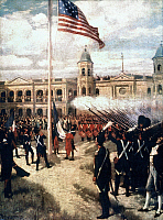 0023617 © Granger - Historical Picture ArchiveLOUISIANA PURCHASE, 1803.   Ceremony in New Orleans, 20 December 1803. Painting by Thure de Thulstrup.