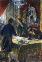 0032425 © Granger - Historical Picture ArchiveLOUISIANA PURCHASE, 1803.   The signing of the Louisiana Purchase by (left to right) Marquis François de Barbe-Marbois, Robert Livingston, and James Monroe in Paris, 30 April 1803. Line engraving, 1904, after a drawing by André Castaigne.