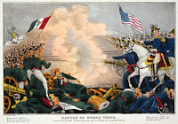 0131340 © Granger - Historical Picture ArchiveBATTLE OF BUENA VISTA, 1847.   The Battle of Buena Vista between the American army led by Zachary Taylor and the Mexican Army led by Antonio Lopez de Santa Anna, 23 February 1847, during the Mexican War. Contemporary lithograph by James Baillie.