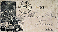 0030506 © Granger - Historical Picture ArchiveCALIFORNIA MINING SCENE.   Cover illustrated with a mining scene, postmarked from Jacksonville, California, and addressed to a recipient in Calais, Maine, c1851.