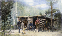 0087155 © Granger - Historical Picture ArchiveCOLORADO: MINERS.   Miners at a camp in Colorado. Oil over a photograph, late 19th century, by William H. Jackson.