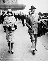 0110541 © Granger - Historical Picture ArchiveWILLIAM KISSAM VANDERBILT II   (1878-1944). Yachtsman. Vanderbilt walks down New York City's Park Avenue with his second wife, Rosamund Lancaster Warburton, shortly after their marriage in Paris. Photographed c1927.