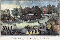 0130881 © Granger - Historical Picture ArchiveTAMPA BAY: FORT BROOKE.   Barracks and tents at Fort Brooke in Tampa Bay, Florida, during the Second Seminole War in 1835. Hand-colored lithograph, 1837.