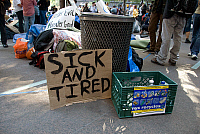 0183534 © Granger - Historical Picture ArchiveOCCUPY WALL STREET, 2011.   A protester's sign in the encampment in Zuccotti Park in New York City, during the Occupy Wall Street demonstrations, 8 October 2011. Full credit: Maggie Downing / Granger, NYC -- All rights reserved.