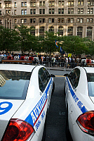 0183618 © Granger - Historical Picture ArchiveOCCUPY WALL STREET, 2011.   Police cars outside of Zuccotti Park in New York City, during the Occupy Wall Street demonstrations, 8 October 2011. Full credit: Maggie Downing / Granger, NYC -- All Rights Reserved.