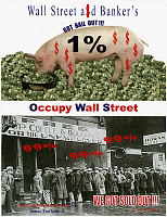 0259602 © Granger - Historical Picture ArchiveOCCUPY WALL STREET, 2012.   Flyer distributed by Occupy Wall Street protesters at Union Square in Manhattan, New York City, referring to the government bailouts that were given to Wall Street firms following the financial crisis of 2008. Collected on 22 March 2012.