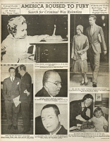 0370606 © Granger - Historical Picture ArchiveLINDBERGH KIDNAPPING, 1936.   Page from the 'New York American,' 4 April 1936, following the execution of kidnapper Bruno Hauptmann, featuring photographs of Charles and Anne Lindbergh and their son; prosecutors David Wilentz and Anthony Hauck; defense attorneys Edward J. Reilly and C. Lloyd Fisher; and Mrs. Anna Hauptmann and her son, Mannfried.
