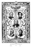 0619960 © Granger - Historical Picture ArchivePRESIDENTS.   Portraits of the five U.S. presidents to serve immediately preceeding the American Civil War, including Millard Fillmore, James Buchanan, Zachary Taylor, Franklin Pierce, and James K. Polk. Engraving, c1890.