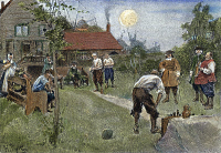 0007436 © Granger - Historical Picture ArchiveNEW AMSTERDAM.   Dutch settlers enjoying a game of bowls in New Amsterdam, late 17th century. Illustration after Howard Pyle.