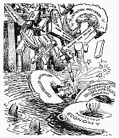 0035687 © Granger - Historical Picture ArchiveNEW DEAL CARTOON, c1933.   'How Much More Do We Need?' American cartoon comment, c1933, showing Uncle Sam having difficulties staying afloat with President Roosevelt's New Deal lifesavers, because of all the other unsolicited 'quack remedies' thrown at the ailing economy.