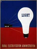 0052559 © Granger - Historical Picture ArchiveRURAL ELECTRIFICATION 1937.   Light: American lithograph poster, 1937, by Lester Beal for the Rural Electrification Administration.