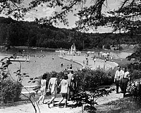 0117918 © Granger - Historical Picture ArchiveNEW DEAL: C.C.C. RECREATION.   A public recreational park with diving tower, beach and bath house was opened in May 1934. Developed by the National Park Service and the CCC (Civilian Conservation Corps) in cooperation with the Tennessee Valley Authority (TVA), Big Ridge Lake, Tennessee. Photograph, c1935-1945.
