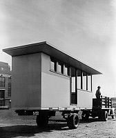 0126113 © Granger - Historical Picture ArchivePORTABLE HOUSING, c1938.   Part of a pre-fabricated cabin for employees of Tennessee Valley Authority construction projects. Photograph, c1938.