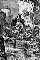 0003554 © Granger - Historical Picture ArchiveROLLO (c860-c931).   Norse chieftain and Viking leader. Rollo and his fleet attack Paris, France, in 885 A.D. Wood engraving, 19th century.