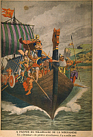 0007015 © Granger - Historical Picture ArchiveNORMANDY: VIKINGS, c900 A.D.   Norse navigators off the coast of France. Illustration from a French newspaper, c1900, commemorating the millenium of the discovery of Normandy by the Vikings.