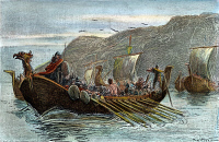 0009179 © Granger - Historical Picture ArchiveNORSE SHIPS, c1000 A.D.   Norsemen on the coast of America. Wood engraving, American, late 19th century.