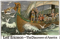 0011023 © Granger - Historical Picture ArchiveLEIF ERICSSON (c970-1020).   With his Viking crew at sea. Drawing, American, early 20th century.