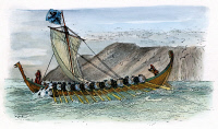 0061843 © Granger - Historical Picture ArchiveVIKING SHIP, c1000 A.D.   A Viking ship under oars and sail. Drawing by Harry Fenn, c1905.