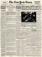 0053832 © Granger - Historical Picture ArchiveHYDROGEN BOMB, 1950.   Front page of the New York Times, 1 February 1950, reporting on U.S. President Harry S. Truman's decision to develop the hydrogen bomb.
