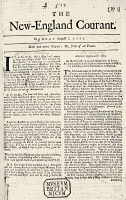 0109816 © Granger - Historical Picture ArchiveNEW ENGLAND COURANT, 1721.   An early issue of The New England Courant, 1721, published in Boston by James Franklin, older brother of Benjamin Franklin.