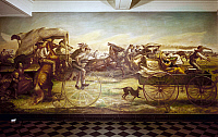 0130999 © Granger - Historical Picture ArchiveOKLAHOMA LAND RUSH.  Oil on canvas mural, 1938-39, by John Steuart Curry (1897-1946) at the Department of the Interior in Washington, D.C.